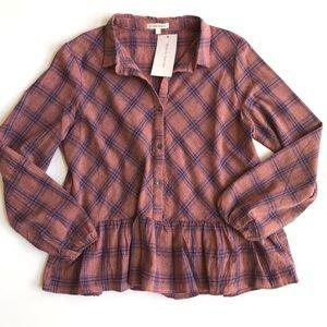 Stevie Hender plaid peplum button down shirt